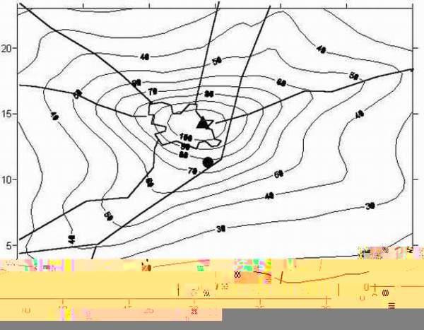 Mappa delle concentrazioni atmosferiche di ossidi di azoto.